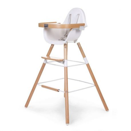Chaise haute b b design naturel childwood range ta for Chaise haute en bois evolutive
