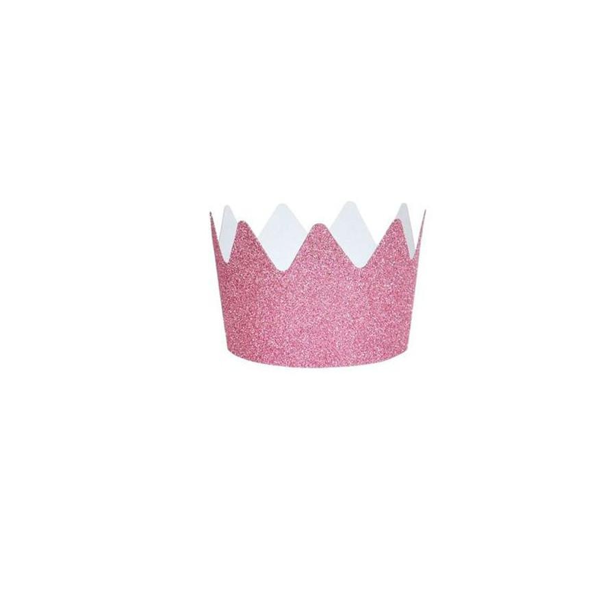 Set 8 Couronnes Glitter rose