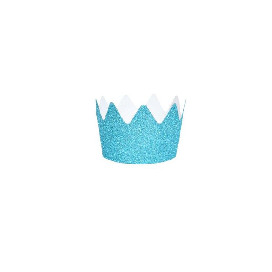 Set 8 Couronnes Glitter bleu