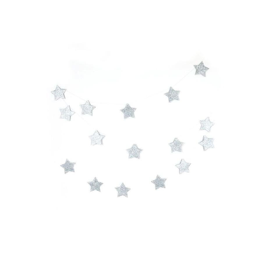 Guirlande étoile glitter argent