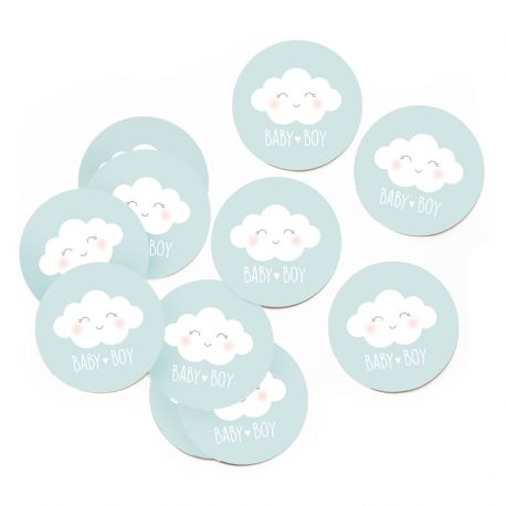 Lot de 10 Stickers nuage bleu
