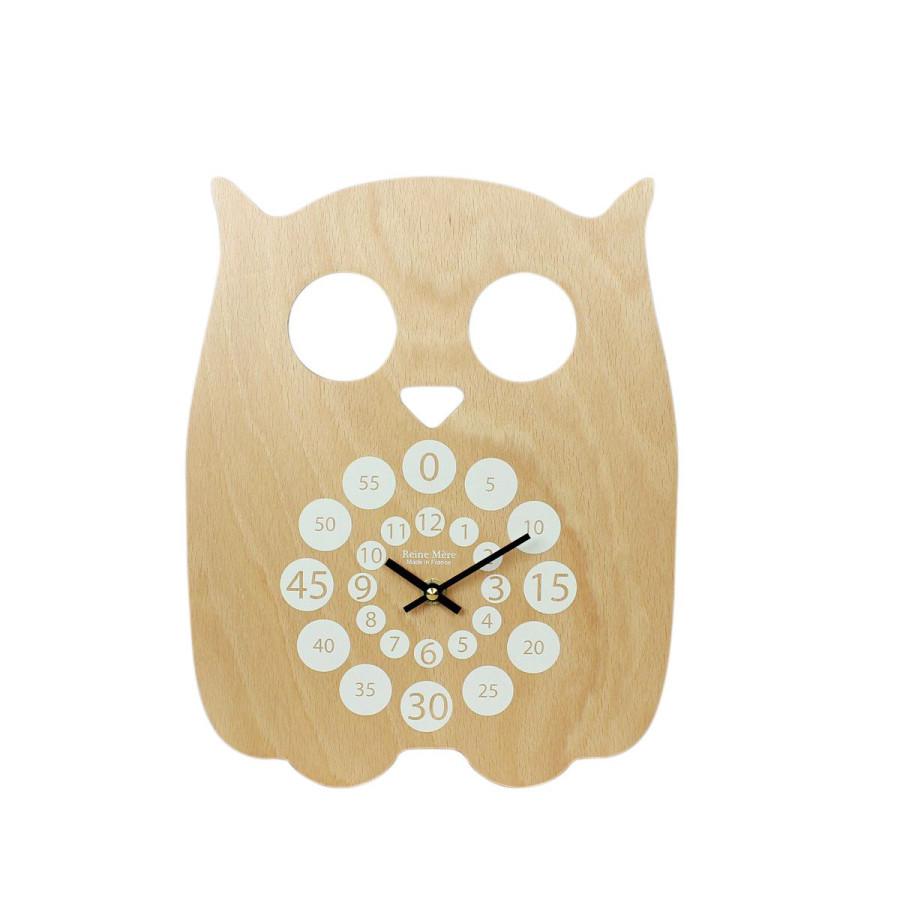 Horloge Hibou bois naturel