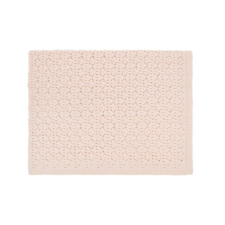 Couverture Tricot dentelle rose