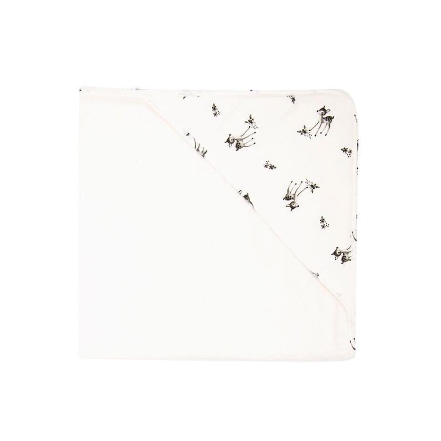 Cape de bain imprimé faons blanc