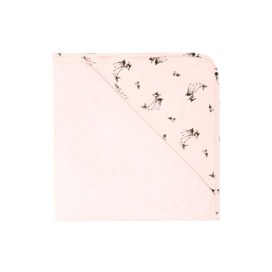 Cape de bain imprimé faons rose