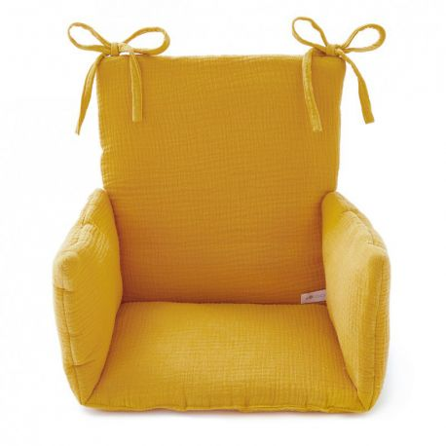 coussin chaise haute gaze jaune moutarde cocoeko. Black Bedroom Furniture Sets. Home Design Ideas