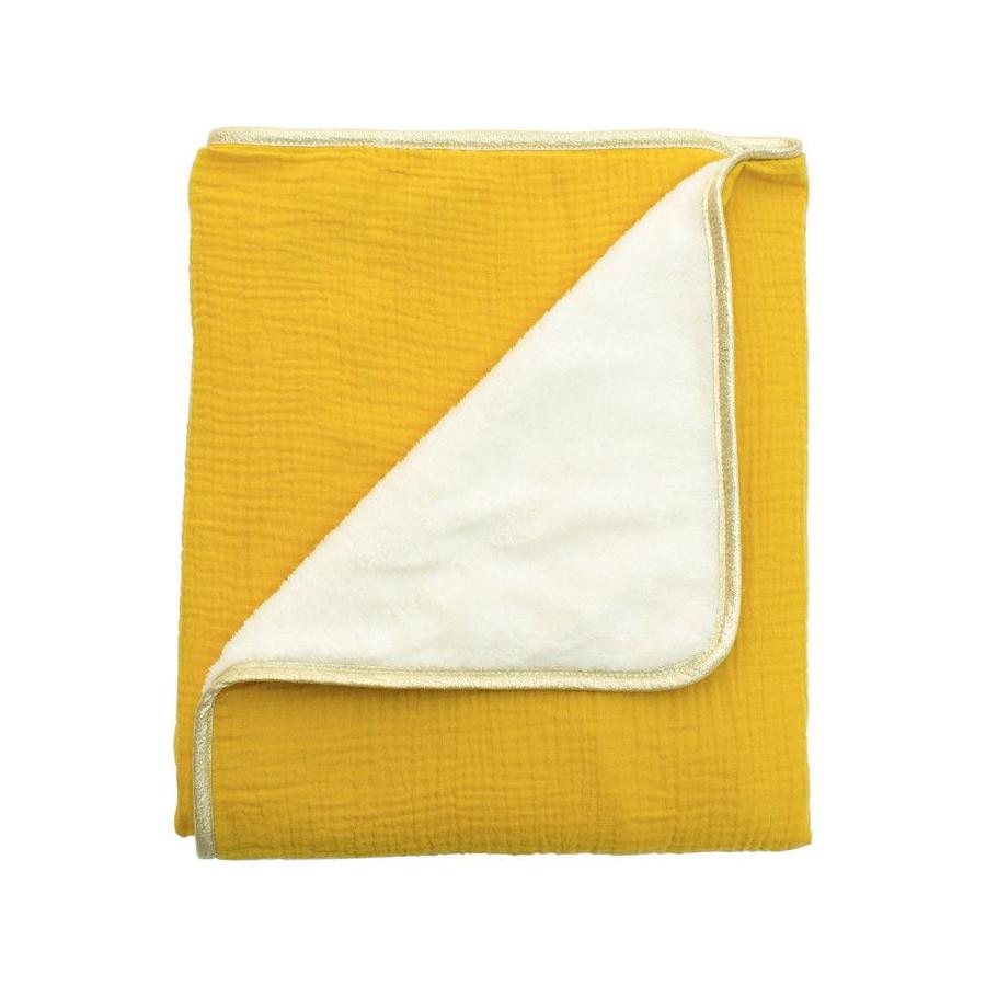 Couverture plaid polaire moutarde