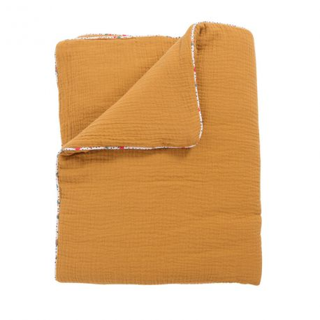Couverture Plaid coton ocre