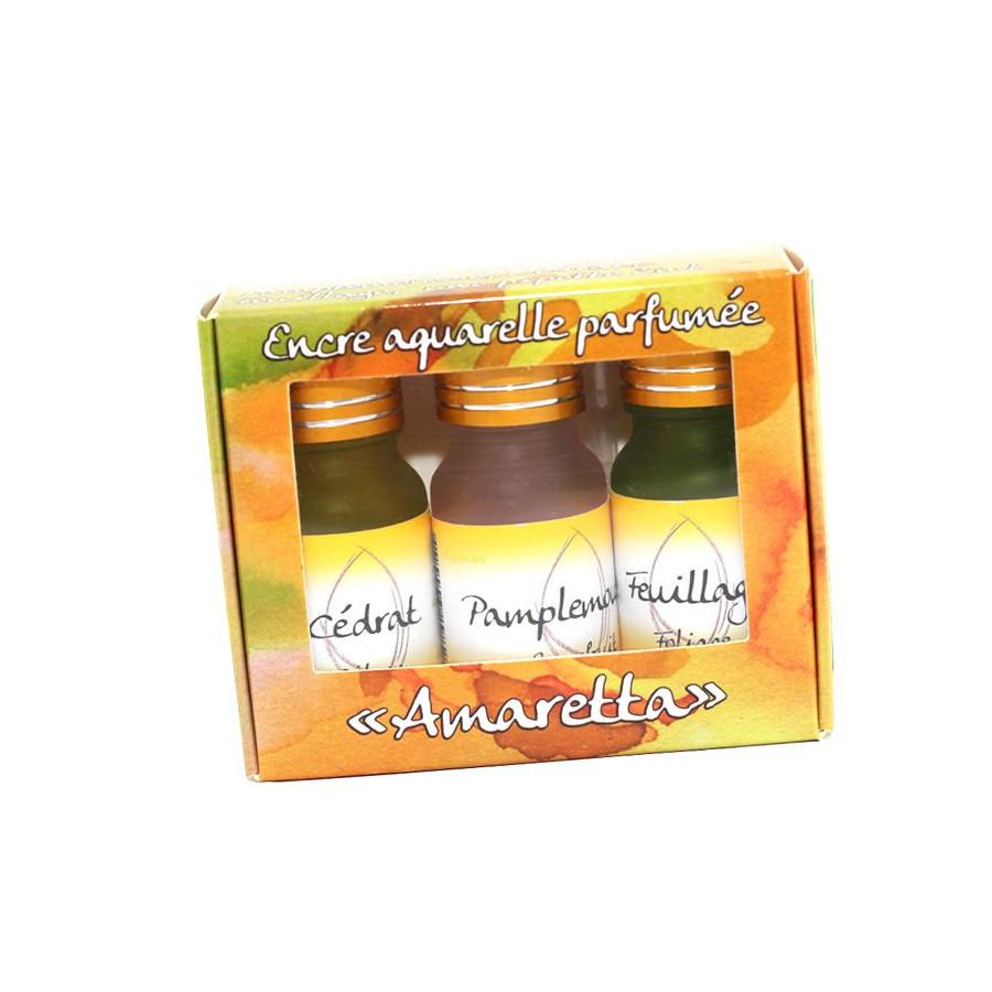 Coffret 3 encres parfumées Amaretta