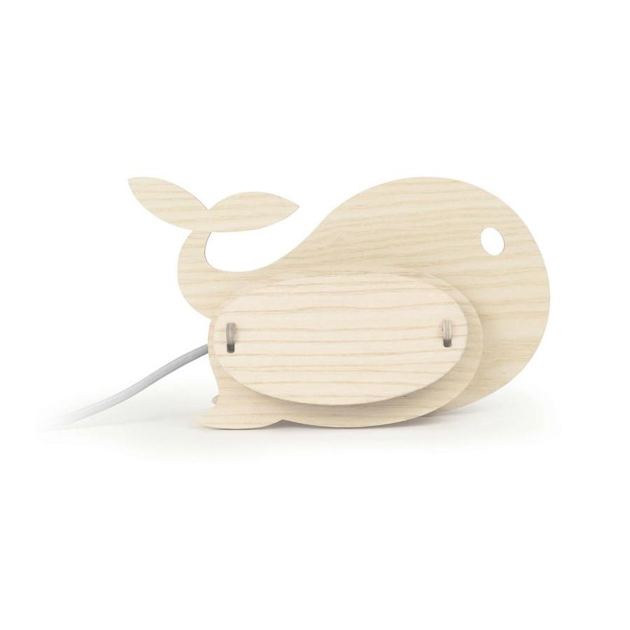 Lampe enfant Baleine bois naturel Gone's