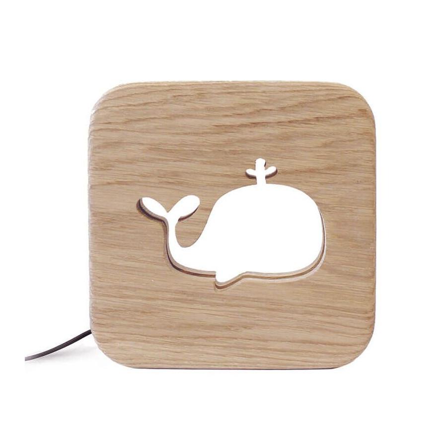 Lampe carré Baleine bois naturel