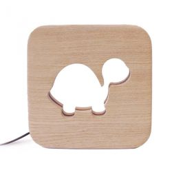 Lampe carré Tortue bois naturel