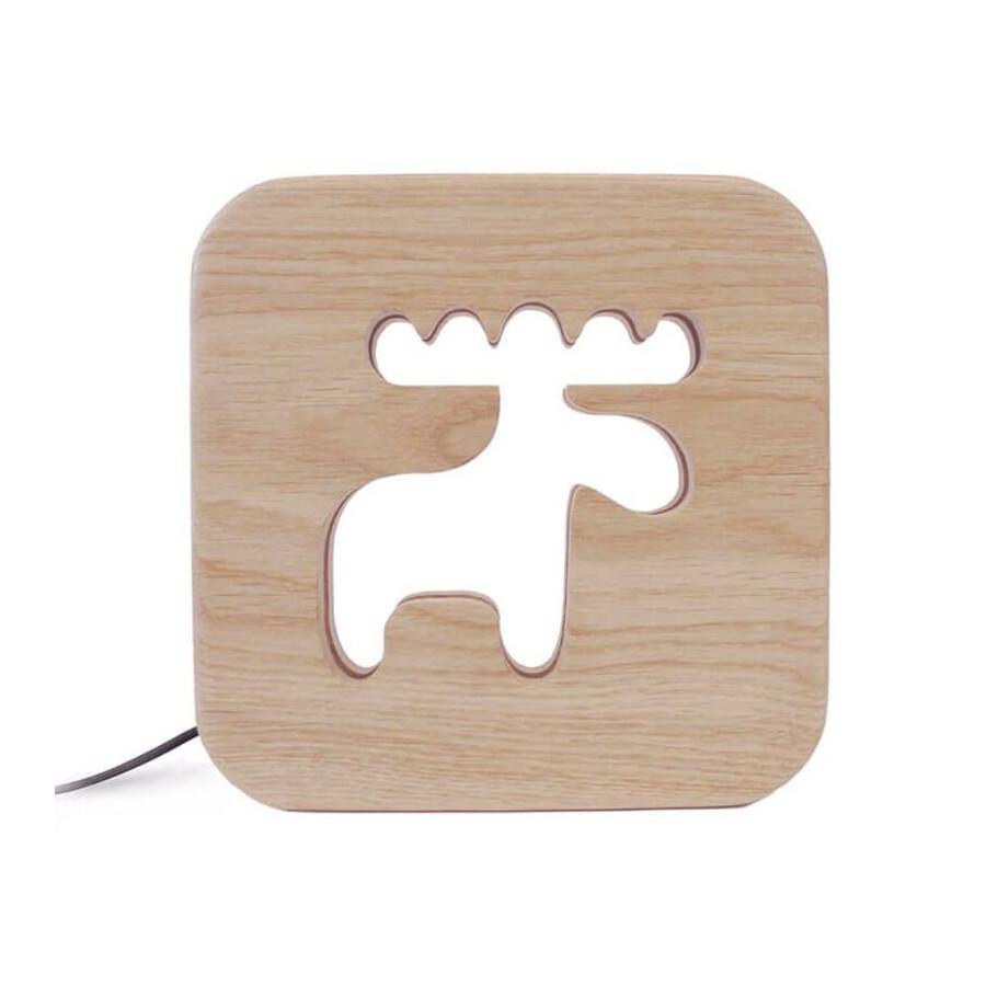 Lampe carré Caribou bois naturel