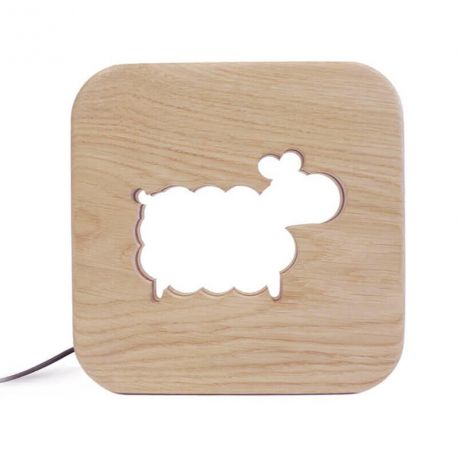 Lampe carré Mouton bois naturel