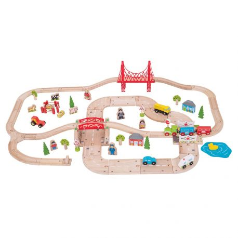 Double Circuit de train en bois de Campagne et Circuit de voitures
