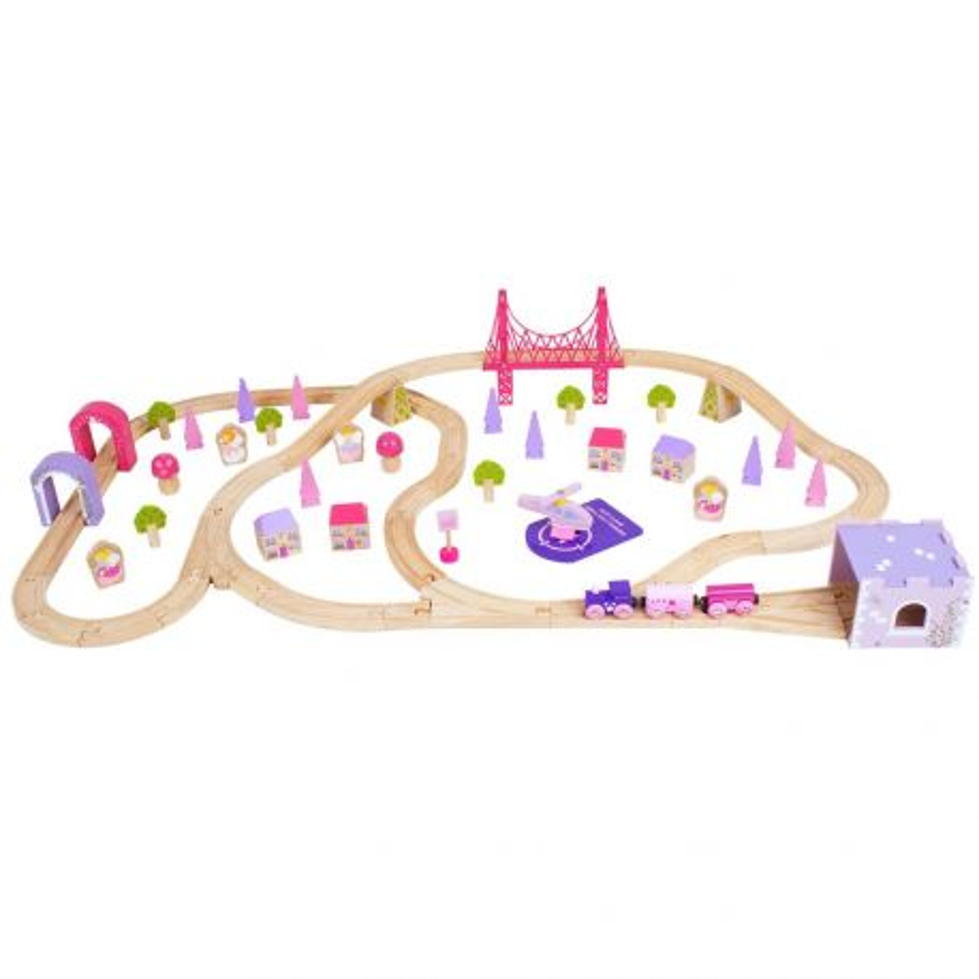 Circuit de train en bois Ville Le monde Magique des fées