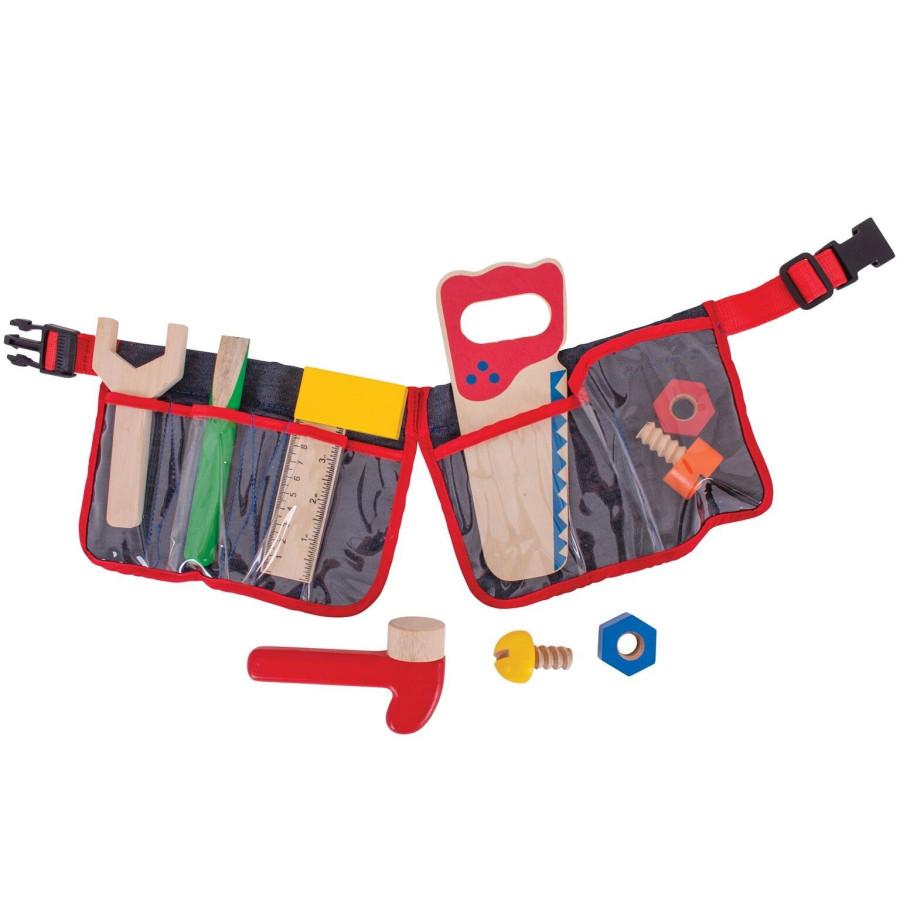 Bigjigs Jouets ceinture du bricoleur enfant 9 outils en bois