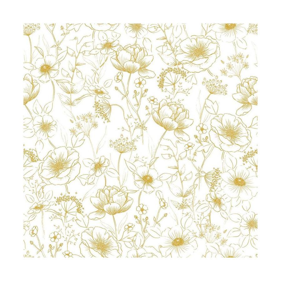 Papier peint Petites fleurs or