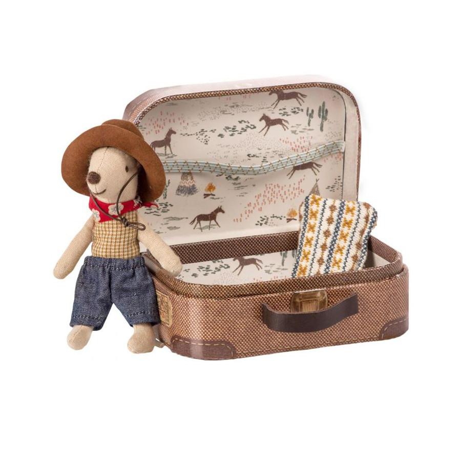 Doudou souris Cowboy et sa valise