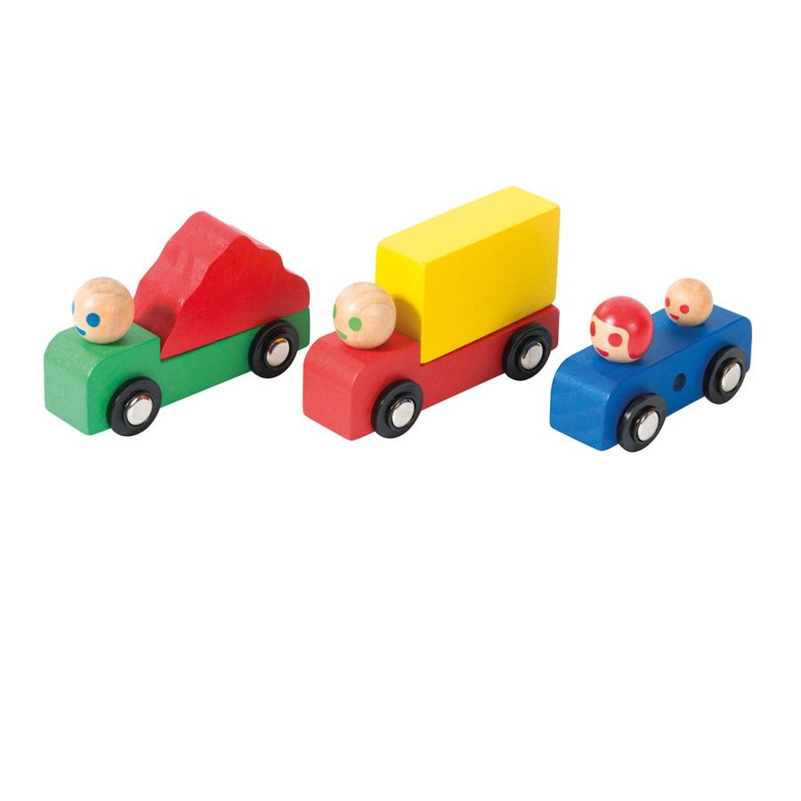 Assortiment de voitures et camions en bois
