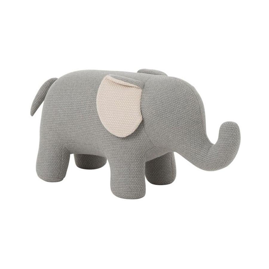 Éléphant Géant coton gris et écru