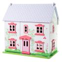 Grande maison de poupée en bois rose blanche mauve