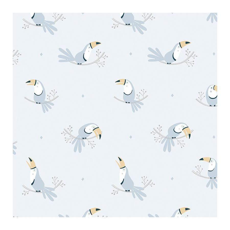 Papier peint Toucan bleu pastel