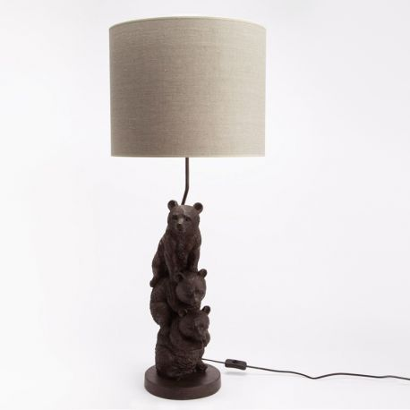 Lampe 3 Oursons lin beige